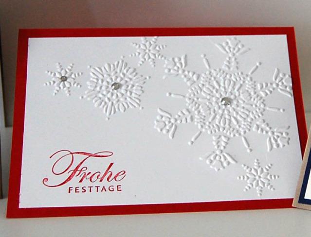 stampin up Landshut Weihnachtskarte Schneeflocken geprägt