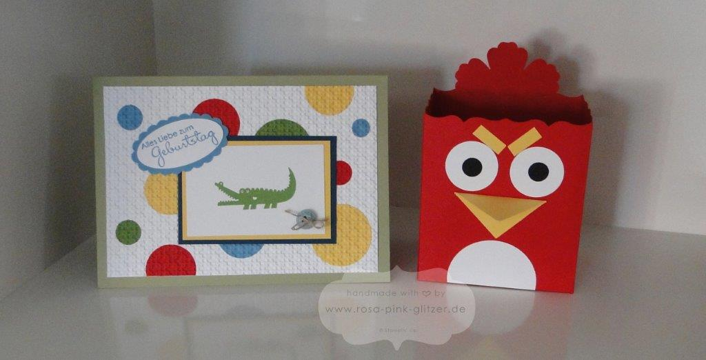Stampin up Landshut - Workshop - Projekte - Geburtstagskarte - Zoo Babies - Verpackung Angry Birds