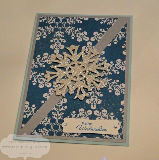 StampinupLandshut-WeihnachtskarteSchneeflockesilber