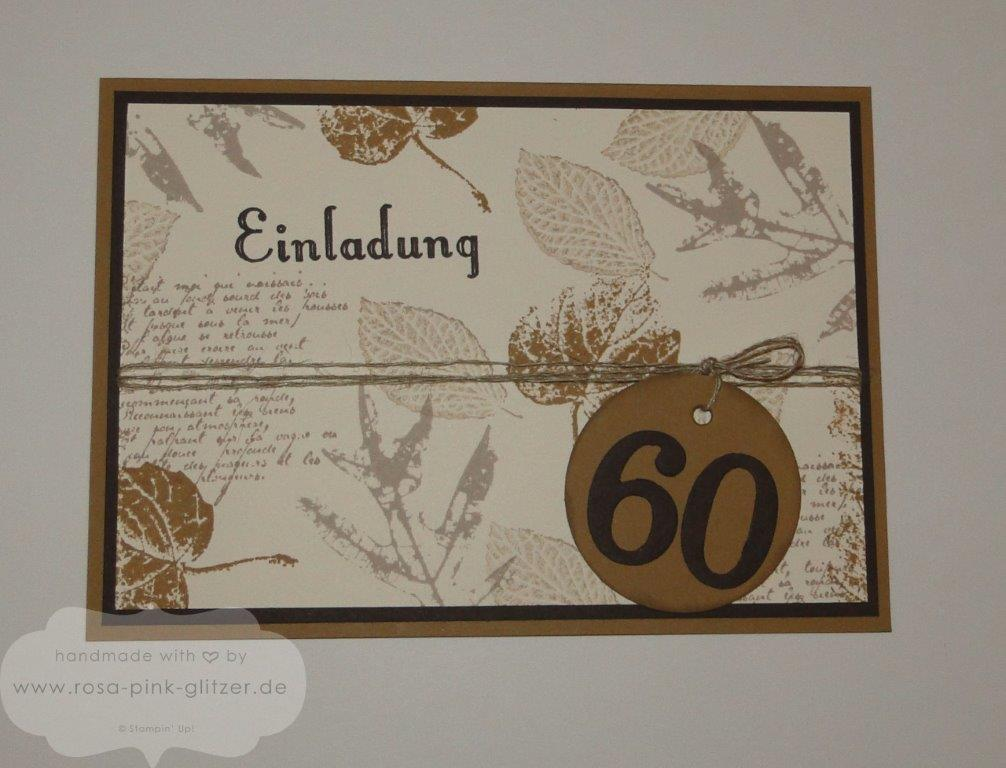 Stampin up Landshut - Einladungskarte 60. Geburtstag French Foliage Geburtstagswunsch