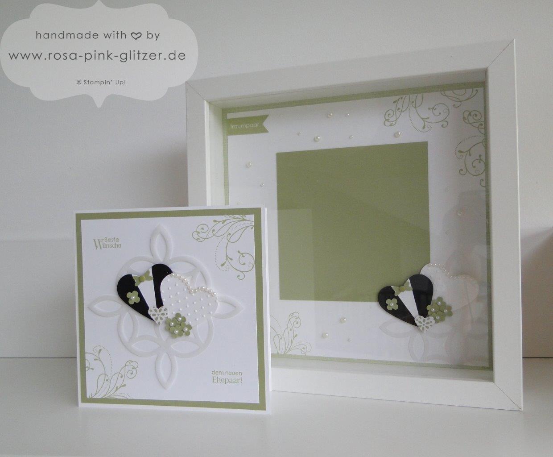 Stampin up Landshut - Hochzeitskarte und Hochzeitsrahmen Grün Weiß 4