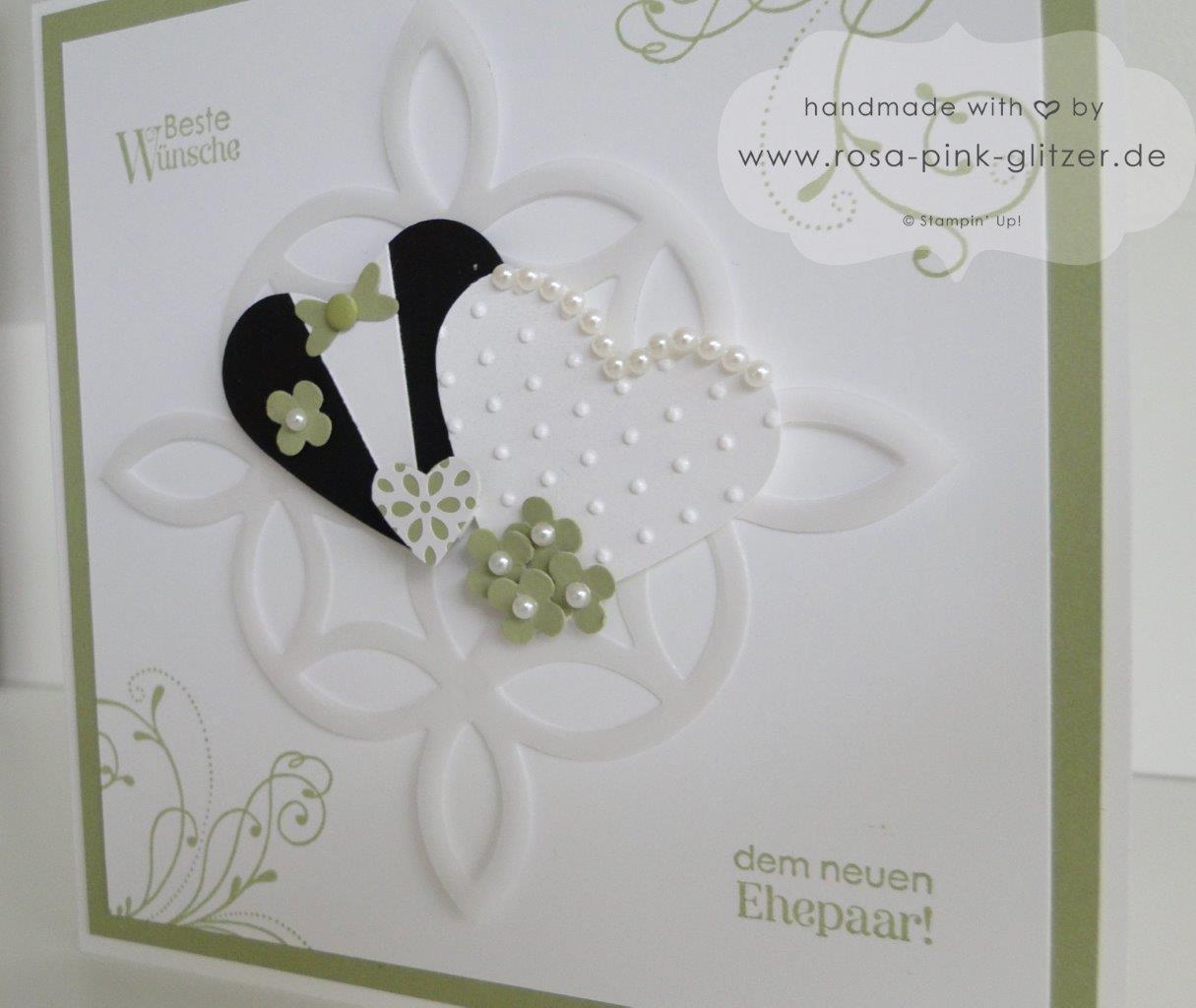 Stampin up Landshut - Hochzeitskarte und Hochzeitsrahmen Grün Weiß 5