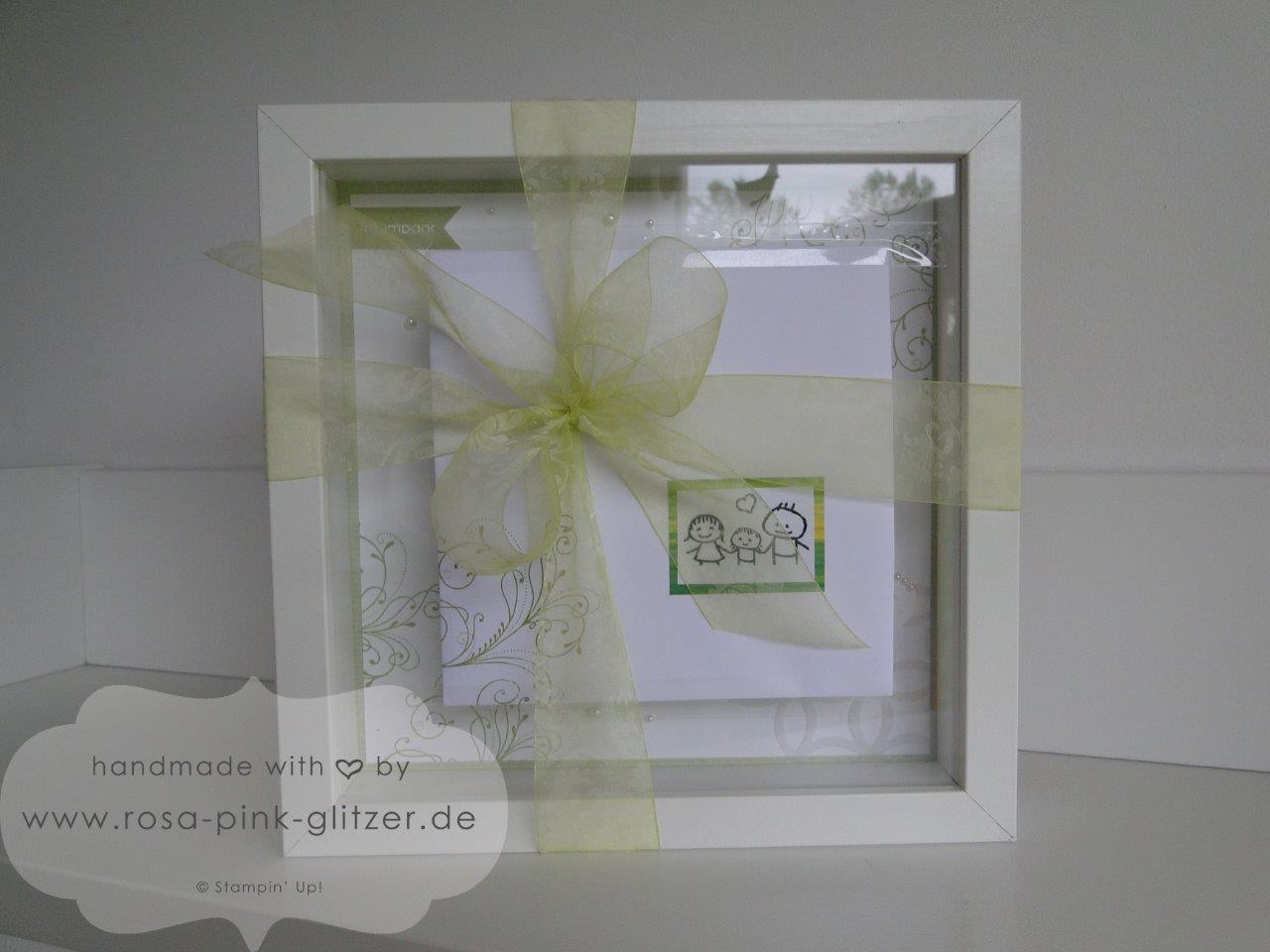 Stampin up Landshut - Hochzeitskarte und Hochzeitsrahmen Grün Weiß 6