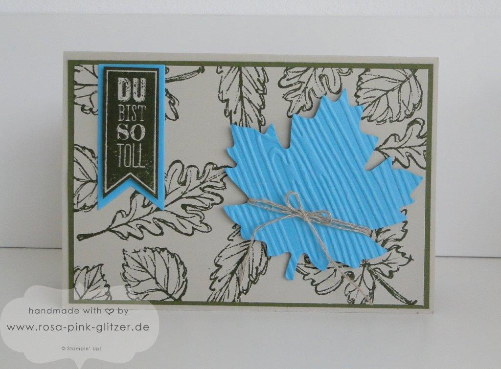 Stampin up Landshut - Herbstkarte Moosgrün Türkis 1