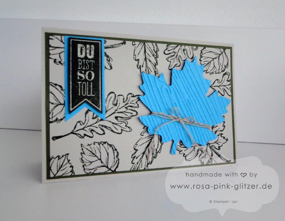 Stampin up Landshut - Herbstkarte Moosgrün Türkis 4