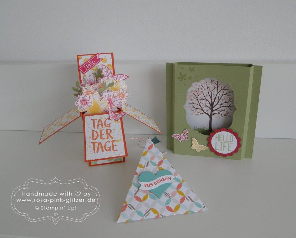 Stampin up Landshut - Workshop Tina Card-in-a-box Windowcard Dreiecksbox 1