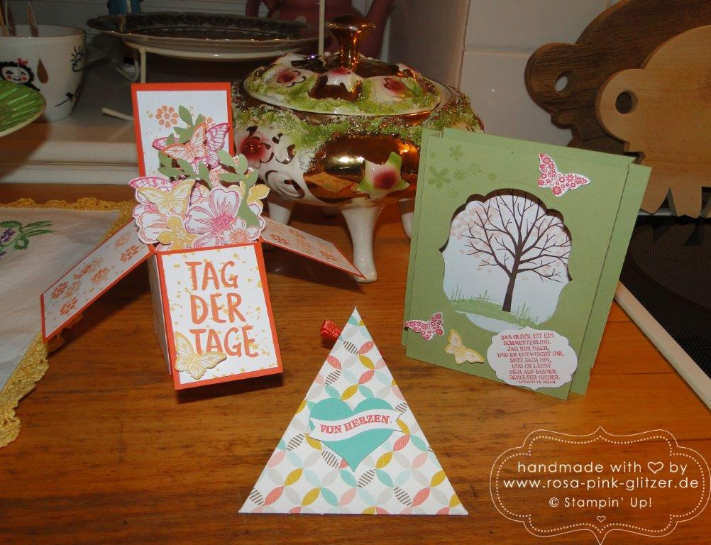 Stampin up Landshut - Workshop Tina Card-in-a-box Windowcard Dreiecksbox 10