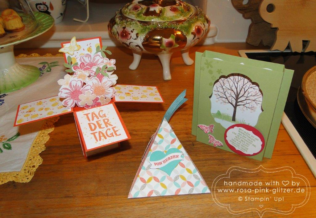 Stampin up Landshut - Workshop Tina Card-in-a-box Windowcard Dreiecksbox 6