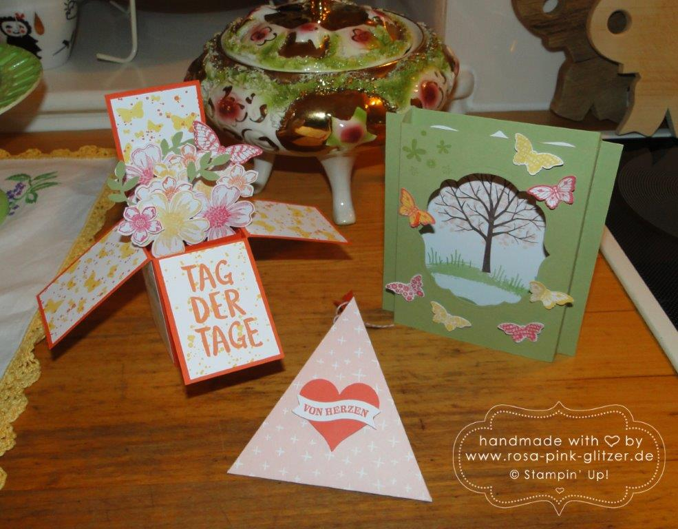 Stampin up Landshut - Workshop Tina Card-in-a-box Windowcard Dreiecksbox 8