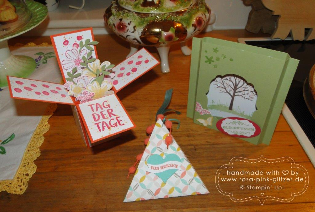 Stampin up Landshut - Workshop Tina Card-in-a-box Windowcard Dreiecksbox 9