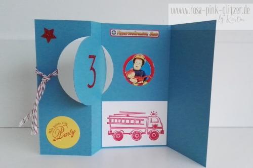 Stampin up Landshut - Einladung 3 Geburtstag Feuerwehrmann Sam 3