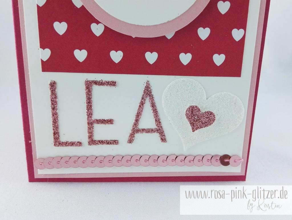 Stampin up Landshut - rosa-pink-glitzer Prinzessinnenkarte für Lea 2