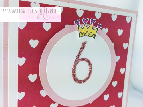 Stampin up Landshut - rosa-pink-glitzer Prinzessinnenkarte für Lea 4