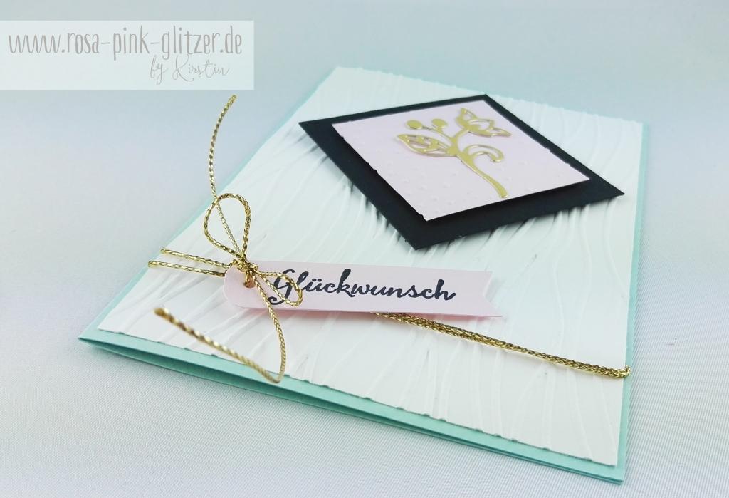 Stampin up Landshut - Geburtstagskarte gold schwarz zartrosa 3