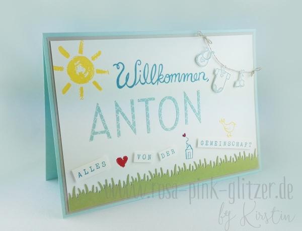 Stampin up Landshut - Babykarte Willkommen Anton 1