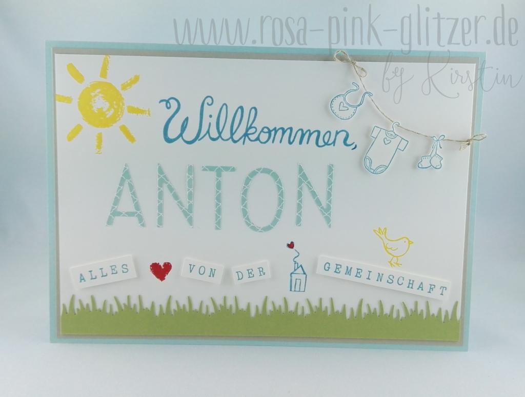 Stampin up Landshut - Babykarte Willkommen Anton 2