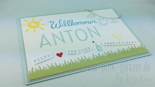 Stampin up Landshut - Babykarte Willkommen Anton 3