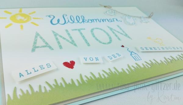 Stampin up Landshut - Babykarte Willkommen Anton 5