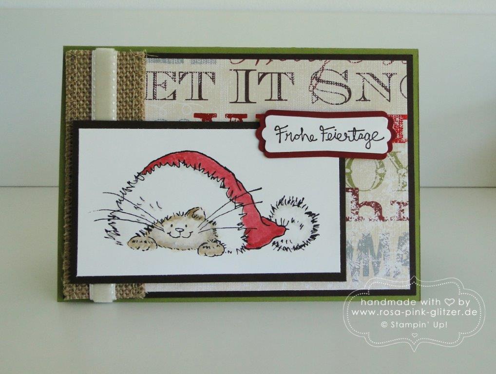 Stampin up Landshut - Weihnachtskarte Gesammelte Grüße Penny Black 1