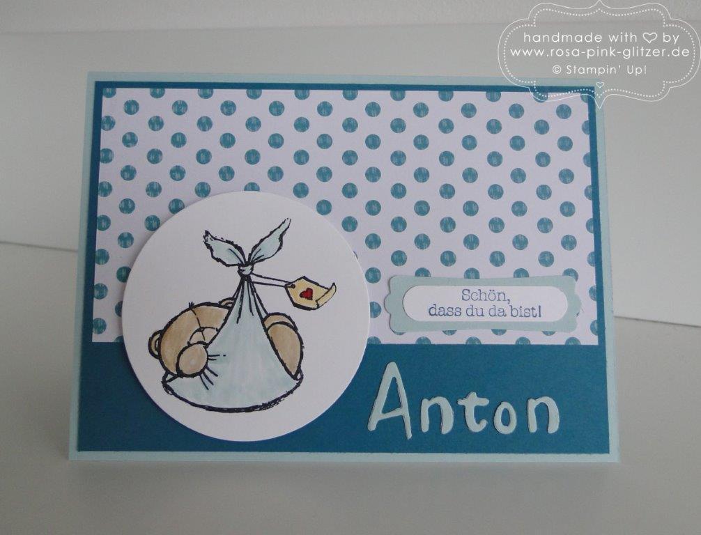 Stampin up Landshut - Babykarte Anton mit Bär 1