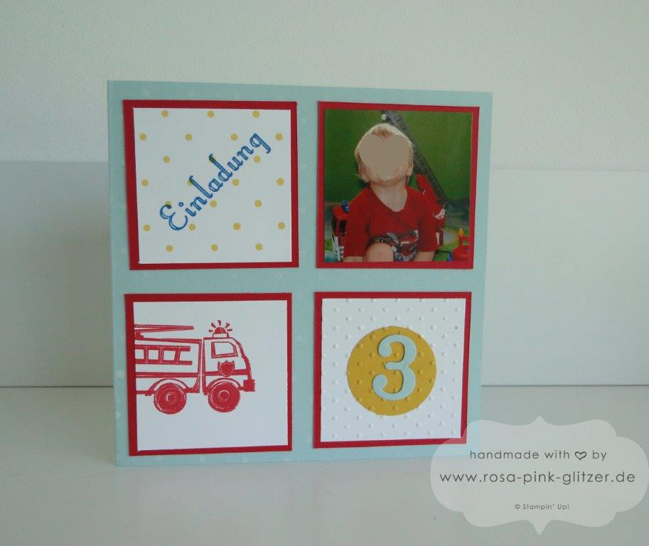 Stampin up Landshut - Einladung 3 Geburtstag Junge Feuerwehr Hero