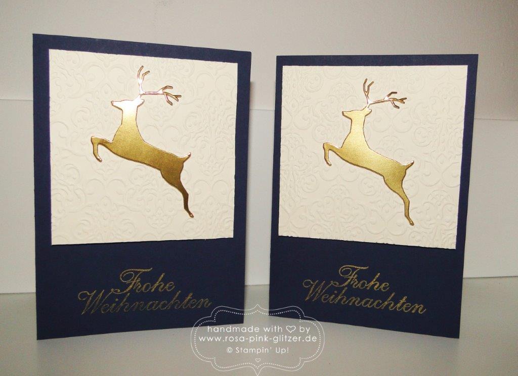 Stampin up Landshut - Elegante Weihnachtskarte mit Hirsch gold