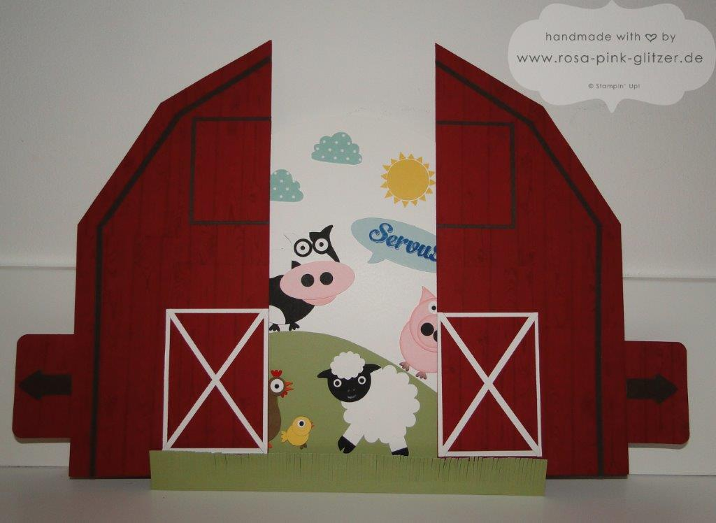 Stampin up Landshut - Schiebekarte Ziehkarte Farm Punch Art Designwettbewerb Convention 2014 3