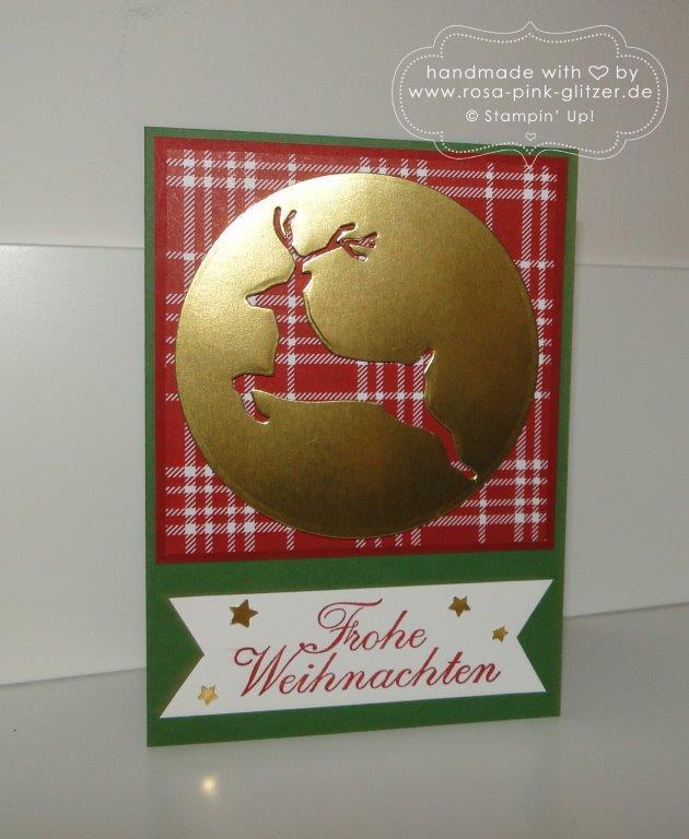 Stampin up Landshut - Weihnachtskarte klassisch mit Hirsch