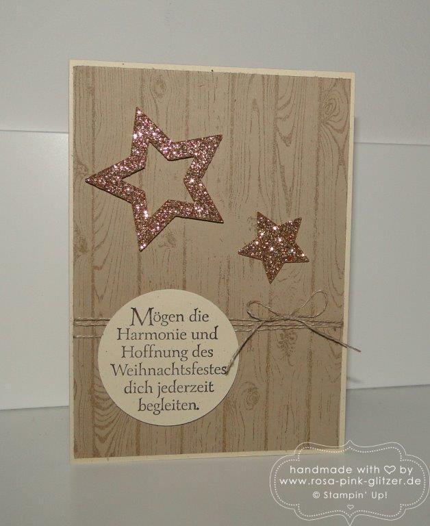 Stampin up Landshut - Weihnachtskarte rustikal mit Sternen