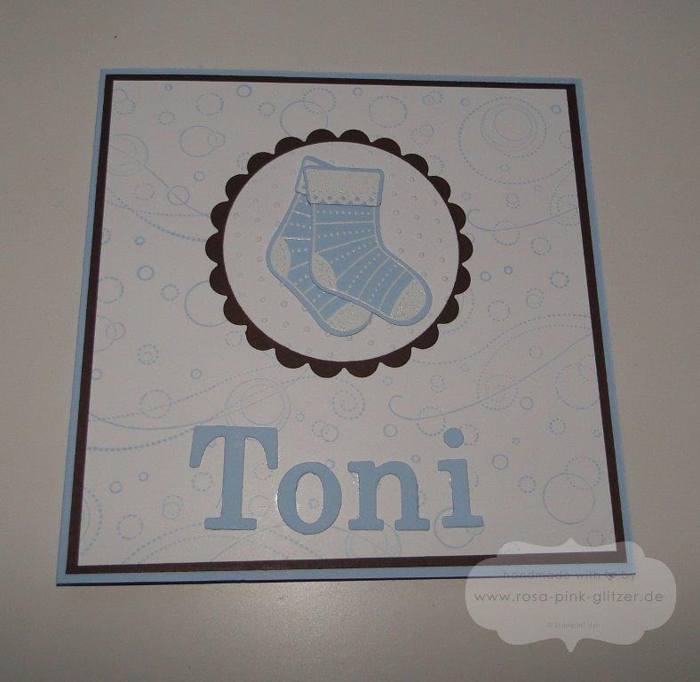 Stampin up Landshut - Babykarte Geburt Junge Stiched Stockings Toni