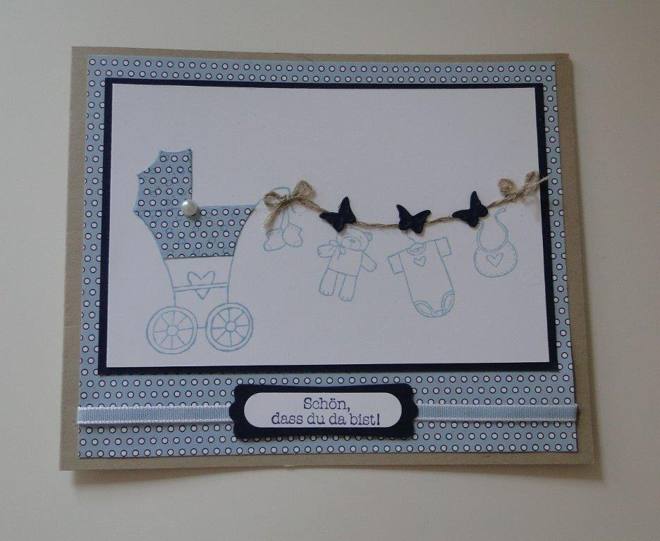 Stampin up Landshut - Fürs Baby - Babykarte zur Geburt für einen Jungen