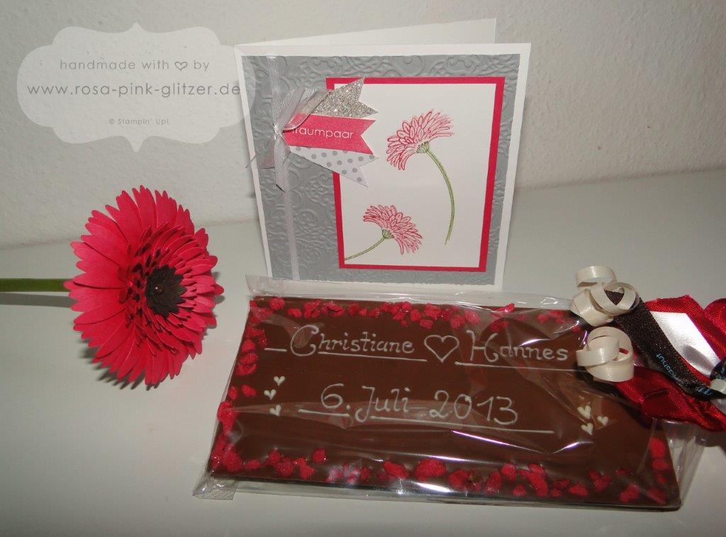 Stampin up Landshut - Hochzeitsgeschenk Christiane pinke Gerbera Chocolat