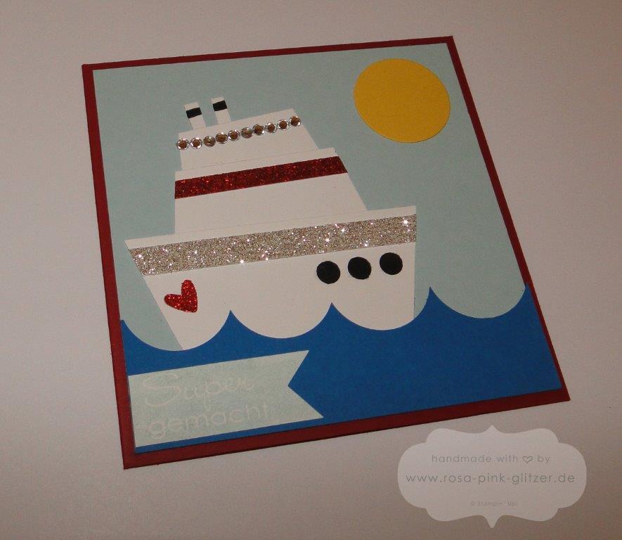Stampin up Landshut - Karte mit dem Kreuzfahrtschiff für Marion - Punch Art